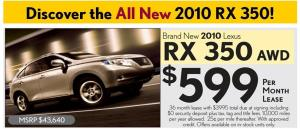04 RX 350 lease